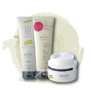 Ischia scrub microgranuli 250ml + masc argilla verde 250 ml + crema opacizzante ischia_kosmetika_